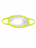 FACE MASK BLANK WHITE (YELLOW NEON TRIM) 100 % POLY SUBLIMATION