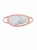 FACE MASK BLANK WHITE (LIGHT PINK  TRIM) 100 % POLY SUBLIMATION