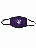 """SIGN LANGUAGE """" I LOVE YOU"""" HAND FACE MASK ( WHITE HAND / PURPLE BACKGROUND)"""