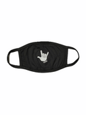 """SIGN LANGUAGE """" I LOVE YOU"""" HAND FACE MASK ( WHITE HAND / BLACK BACKGROUND)  HAND CENTER"""