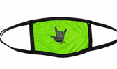 """SIGN LANGUAGE """" I LOVE YOU"""" HAND FACE MASK ( BLACK HAND / LIME BACKGROUND) HAND CENTER"""