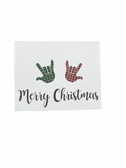 "Christmas Greeting Card  Sign Language I LOVE YOU HAND "" RED AND GREEN BUFFALO PLAIN """