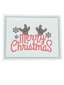 "Christmas Greeting Card  Sign Language I LOVE YOU HAND "" MERRY CHRISTMAS (RED ) WITH REINDEER """