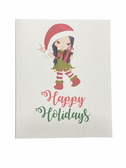 "Christmas Greeting Card  Sign Language I LOVE YOU HAND "" ELF GIRL WITH PRESENT"""