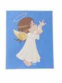 "SIGN LANGUAGE "" I LOVE YOU "" HAND ANGEL ( BROWN HAIR/ FLESH )  GREETING CARDS"