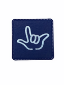 "DRINK COASTER SQUARE PAD SIGN LANGUAGE OUTLINE HAND "" I LOVE YOU""  ( BLUE BACKGROUND / SILVER HAND) LEATHER"