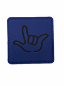 "DRINK COASTER SQUARE PAD SIGN LANGUAGE OUTLINE HAND "" I LOVE YOU""  ( BLUE BACKGROUND / BLACK HAND) LEATHER"