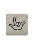 "DRINK COASTER SQUARE PAD SIGN LANGUAGE OUTLINE HAND "" I LOVE YOU""  ( MARBLE BACKGROUND / BLACK HAND) LEATHER"