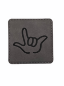 "DRINK COASTER SQUARE PAD SIGN LANGUAGE OUTLINE HAND "" I LOVE YOU""  ( GRAY BACKGROUND / BLACK HAND) LEATHER"