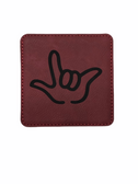 "DRINK COASTER SQUARE PAD SIGN LANGUAGE OUTLINE HAND "" I LOVE YOU""  ( ROSE BACKGROUND / BLACK HAND) LEATHER"