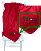"""SIGN LANGUAGE """" I LOVE YOU"""" HAND ON SIDE CHRISTMAS TRUCK FLEECE THROW BLANKET (RED )"""