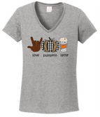 "Sign Language "" I LOVE YOU"" Hand  Pumkin, Lattic (Adult Size)  V Neck Shirt"