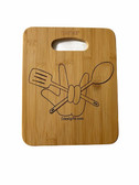 BAMBOO CUTTING BOARD WITH SIGN LANGUAGE I LOVE YOU HAND WITH KITCHEN TOOLS (MED)