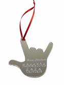 "SIGN LANGUAGE  ""I LOVE YOU ""HAND SHAPE  Custom Ornaments Front Side (Mirror Acrylic)"