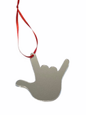 """SIGN LANGUAGE  """"I LOVE YOU HAND"""" SHAPE  BLANK Ornaments Front Side (Mirror Acrylic)"""