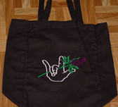 Tote Bag with ILY hand & Rose Embroidery (Black)