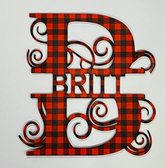 CUSTOM LAST NAME SPLIT MONOGRAMS (RED AND BLACK BUFFALO) 10 INCHES, (ONLY LETTERS)