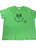 "SIGN LANGUAGE "" I LOVE YOU "" HAND WITH GRINCH FACE (ADULT SIZE & LIME SHIRT)"