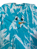 """SIGN LANGUAGE """" I LOVE YOU """" HAND WITH SNOWMAN FACE (YOUTH SIZE SEA BLUE SHIRT)"""