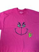 "SIGN LANGUAGE "" I LOVE YOU "" HAND WITH GRINCH FACE (YOUTH SIZE & PINK SHIRT)"