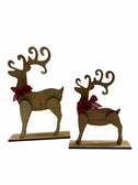 STAND DEERS WITH WOODEN STAIN WITH RIBBON PLAIN SET