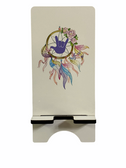 """IPHONE DEVICE STAND WITH SIGN LANGUAGE """" I LOVE YOU """" PURPLE WITH DREAM CATCHER  HAND (WHITE BACKGROUND) LARGE"""