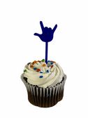 """SIGN LANGUAGE FULL HAND """" I LOVE YOU"""" HAND CUPCAKE TOPPER (( 6 EACH - 1 SET))( CHOOSE COLOR) NOT INCLUDE CUPCAKE FOOD"""