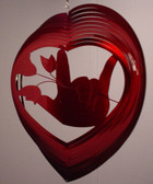 Suncatchers Wind Illusions  ILY hand w/Rose Red (Large) 12""