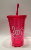 Tumbler with Straw Small Pink with White I LOVE YOU (16 oz.)