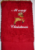 Hand Towel Embroidery Reindeer with ILY (Red)