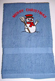 Hand Towel Embroidery Snowman with ILY (BLUE)