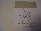 I LOVE YOU with heart card (Tan)