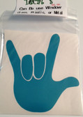Auto Decals Sticker Window, Large I LOVE YOU Hand ( Aqura)