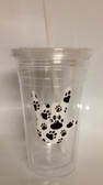 Tumbler with Straw Small Clear with PAWS I LOVE YOU 16.oz