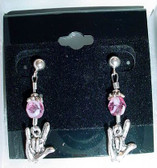 Earrings Glass Bead (Pink) with I LOVE YOU hands