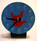Desk Clock , Finger number with (Red Hand) Blue background
