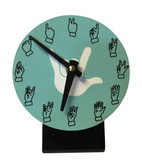 Desk Clock , Finger number with (White Hand) Light Blue