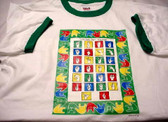 A to Z Sign Language Shirt (Green Ringer) YOUTH SIZE