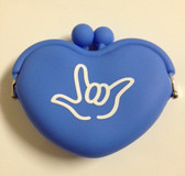 Heart Shape Silicone Rubber Purses Coin Sign I LOVE YOU Hand (Blue)