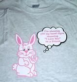 Deaf Bunny Sign ILY words ( Ash) Adult