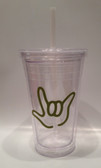 Tumbler with Straw Small Clear with Olive I LOVE YOU ( 16 oz.)