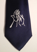 Men Tie with Sign Jesus hands (Navy)