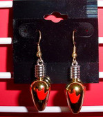 Christmas Light drop earring pair ( Gold w/ILY Red)