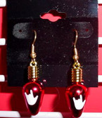 Christmas Light drop earring pair (Red w/ILY White)