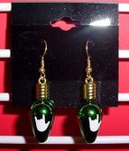 Christmas Light drop earring pair (Green  w/ILY White)