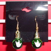 Christmas Light Round earring pair (Green w/ILY White)
