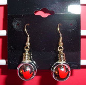 Christmas Light Round earring pair (Silver w/ILY Red)