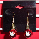 Christmas Light Round earring pair (Red w/ILY White)