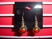 Christmas Light Round earring pair (Gold w/ILY Red)