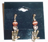 GlassBeads Gold Earring (Orange) with Gold Heart  ILY Hand